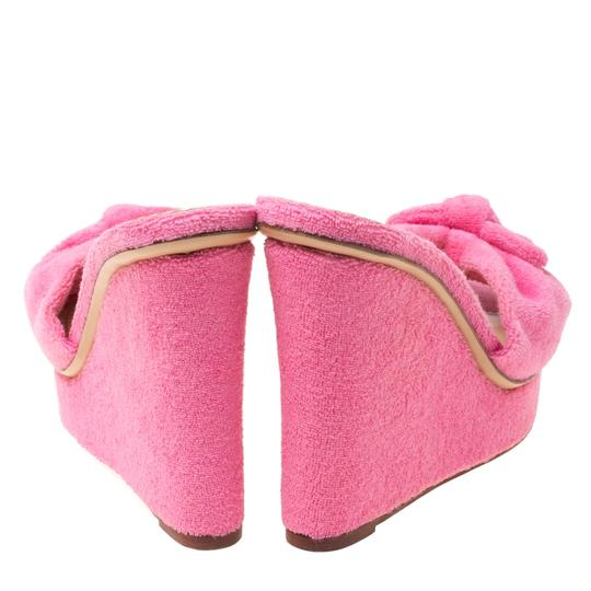 Charlotte Olympia Wedge Terry Cloth Pink Sandals Image 3