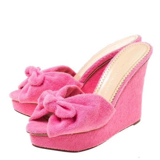 Charlotte Olympia Wedge Terry Cloth Pink Sandals Image 4