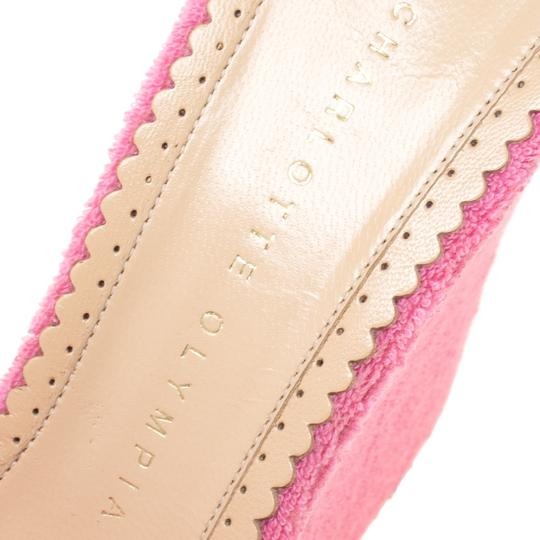 Charlotte Olympia Wedge Terry Cloth Pink Sandals Image 5