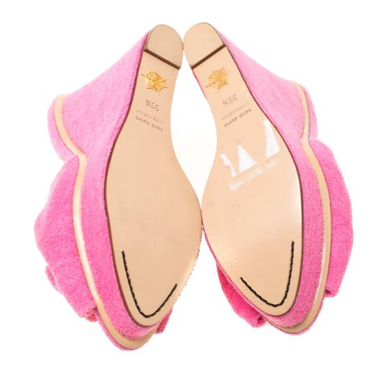 Charlotte Olympia Wedge Terry Cloth Pink Sandals Image 6