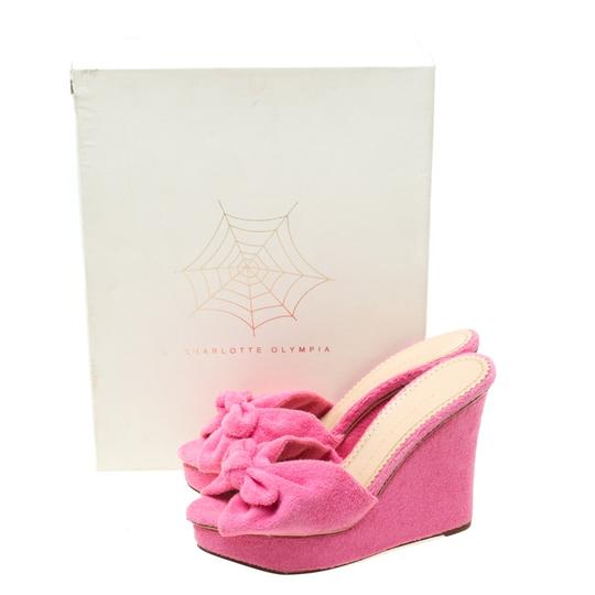 Charlotte Olympia Wedge Terry Cloth Pink Sandals Image 7