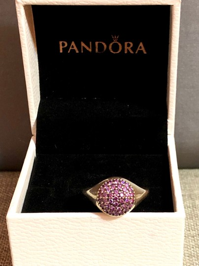 PANDORA Pandora Sterling Silver ALE 52 Fancy Purple Pave Ring Image 6