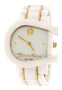 Etienne Aigner White Mother of Pearl Two Tone Genua Due A3160 Women's Wristwatch 33mm