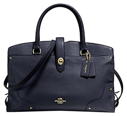 Coach Mercer Satchel in Navy Image 11