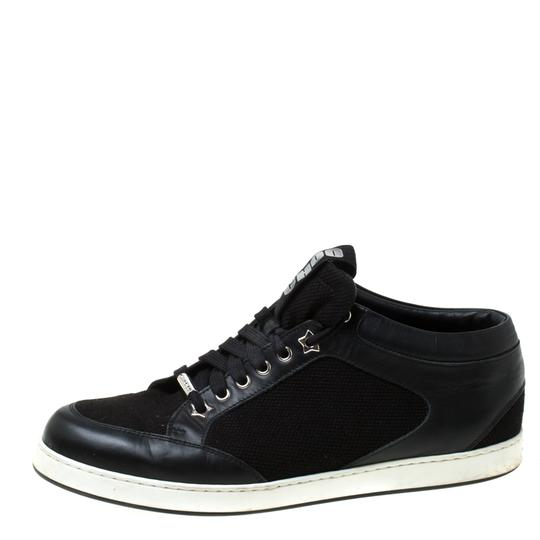 Jimmy Choo Canvas Leather Logo Black Athletic Image 1