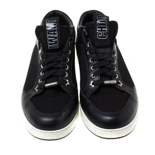 Jimmy Choo Canvas Leather Logo Black Athletic Image 2