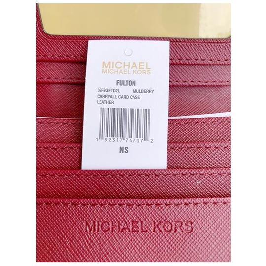 Michael Kors Michael Kors Fulton Carryall Card Case Wallet Mulberry Leather Image 3