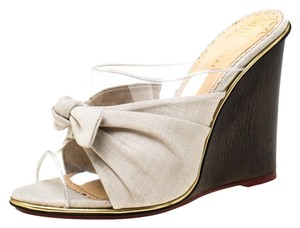 Charlotte Olympia Canvas Detail Peep Toe Wedge Pvc Grey Sandals