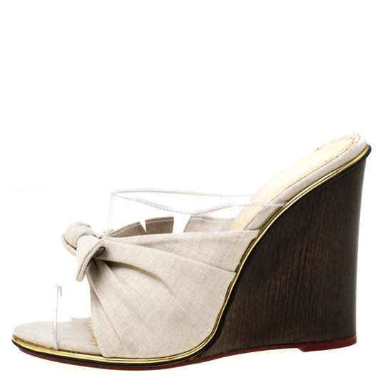 Charlotte Olympia Canvas Detail Peep Toe Wedge Pvc Grey Sandals Image 1