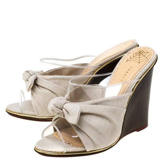 Charlotte Olympia Canvas Detail Peep Toe Wedge Pvc Grey Sandals Image 4