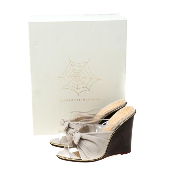 Charlotte Olympia Canvas Detail Peep Toe Wedge Pvc Grey Sandals Image 7