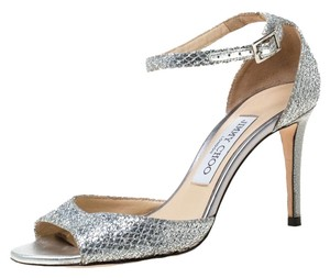 Jimmy Choo Glitter Leather Ankle Strap Silver Sandals