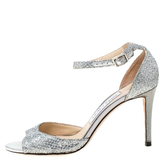 Jimmy Choo Glitter Leather Ankle Strap Silver Sandals Image 1