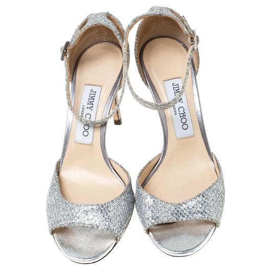 Jimmy Choo Glitter Leather Ankle Strap Silver Sandals Image 2