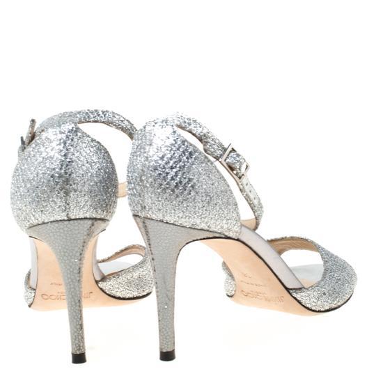Jimmy Choo Glitter Leather Ankle Strap Silver Sandals Image 3