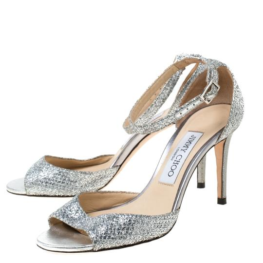 Jimmy Choo Glitter Leather Ankle Strap Silver Sandals Image 4