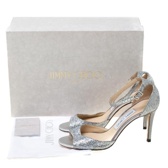 Jimmy Choo Glitter Leather Ankle Strap Silver Sandals Image 7