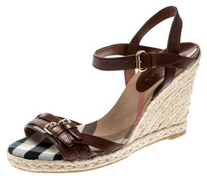 Burberry Belted Leather Espadrille Brown Sandals