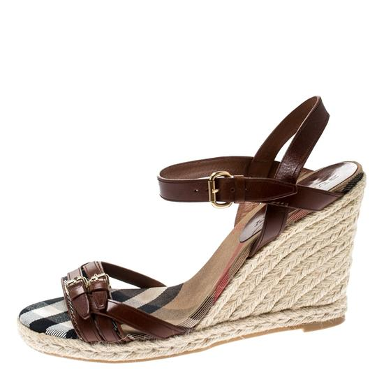 Burberry Belted Leather Espadrille Brown Sandals Image 1