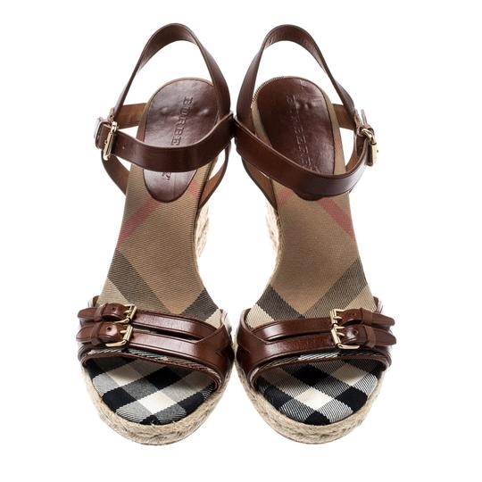 Burberry Belted Leather Espadrille Brown Sandals Image 2