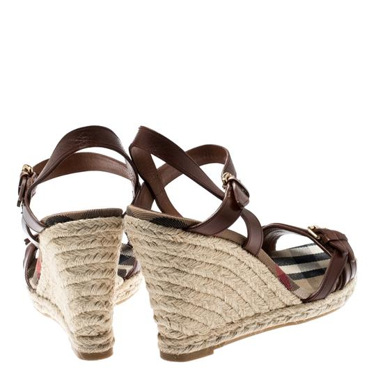 Burberry Belted Leather Espadrille Brown Sandals Image 4