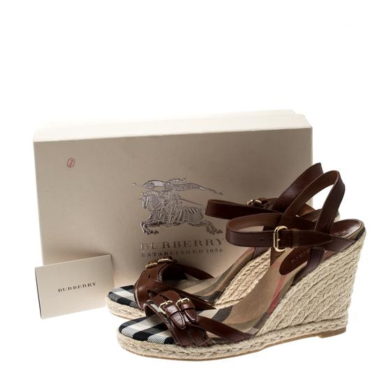 Burberry Belted Leather Espadrille Brown Sandals Image 7