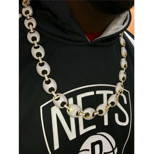 Harlembling Harlembling Hand Crafted 14kt Gold Diamond-studded Gucci Link Chain Image 4