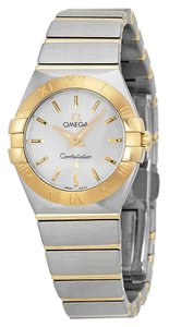 Omega Constellation Automatic Stainless Steel 18Kt Gold Bars Ladies Watch
