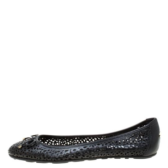 Jimmy Choo Perforated Leather Detail Ballet Black Flats Image 1