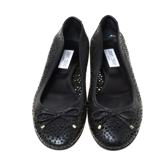 Jimmy Choo Perforated Leather Detail Ballet Black Flats Image 2