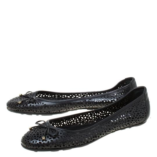 Jimmy Choo Perforated Leather Detail Ballet Black Flats Image 4