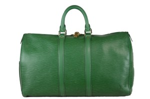 Louis Vuitton Cuir Keepall Travel Tote in Green