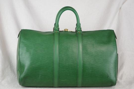 Louis Vuitton Lv Cuir Keepall Speedy Neverfull Tote in Green Image 4