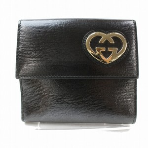 Gucci Black Leather Heart Logo Compact Wallet 871279