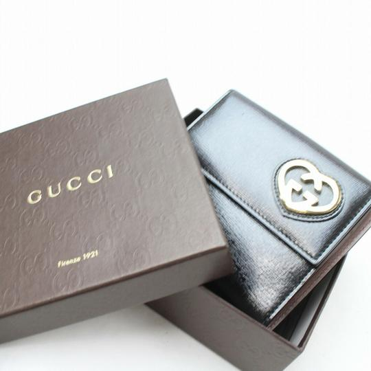 Gucci Black Leather Heart Logo Compact Wallet 871279 Image 1