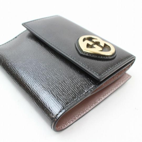 Gucci Black Leather Heart Logo Compact Wallet 871279 Image 8