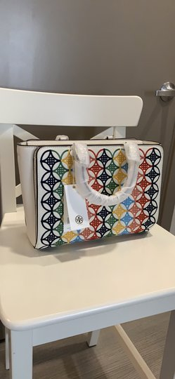 Tory Burch Robinson Embroidered Tote in Multi Image 1