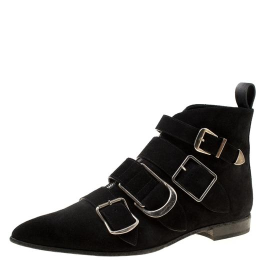 Burberry Suede Detail Pointed Toe Ankle Black Boots Image 1