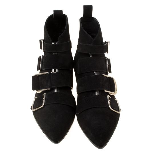 Burberry Suede Detail Pointed Toe Ankle Black Boots Image 2