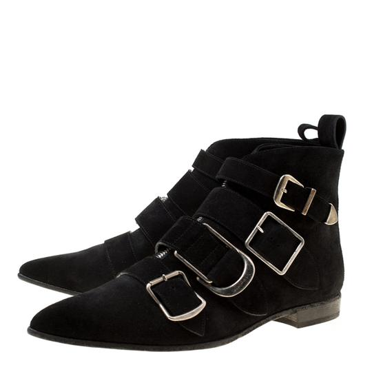 Burberry Suede Detail Pointed Toe Ankle Black Boots Image 3