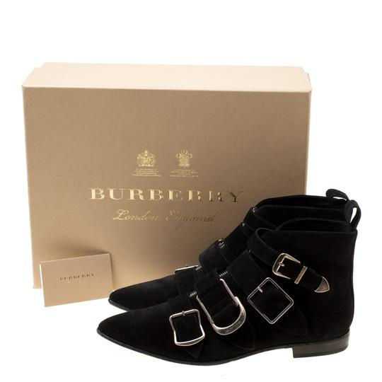 Burberry Suede Detail Pointed Toe Ankle Black Boots Image 7