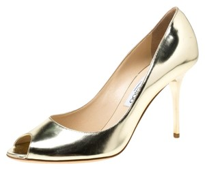 Jimmy Choo Metallic Leather Peep Toe Gold Pumps