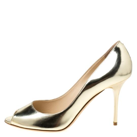 Jimmy Choo Metallic Leather Peep Toe Gold Pumps Image 1