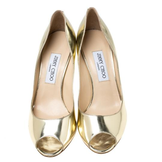 Jimmy Choo Metallic Leather Peep Toe Gold Pumps Image 2