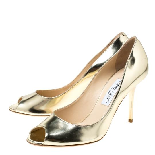 Jimmy Choo Metallic Leather Peep Toe Gold Pumps Image 3