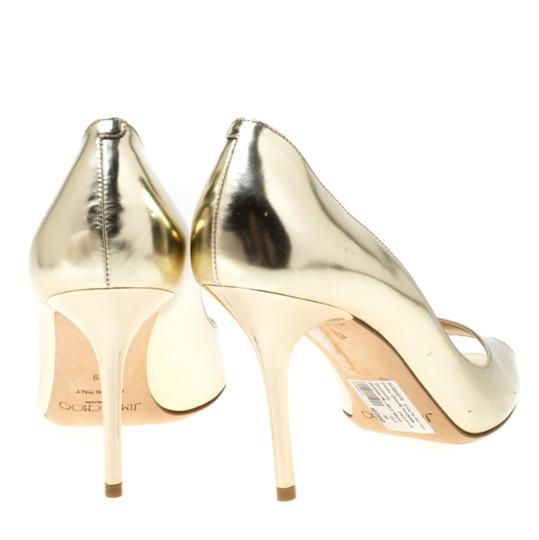 Jimmy Choo Metallic Leather Peep Toe Gold Pumps Image 4