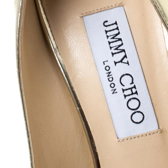 Jimmy Choo Metallic Leather Peep Toe Gold Pumps Image 6