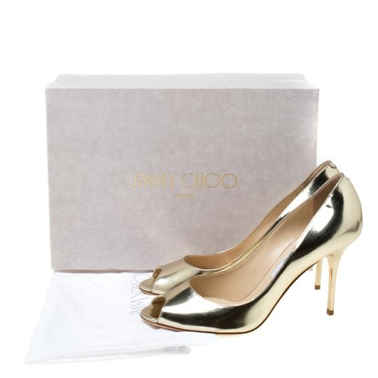 Jimmy Choo Metallic Leather Peep Toe Gold Pumps Image 7