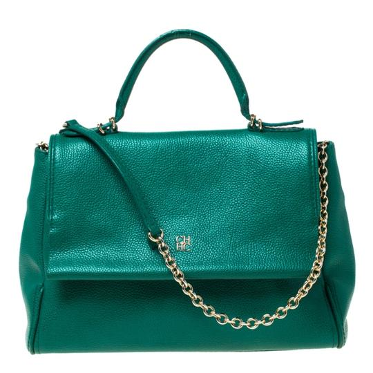 Preload https://img-static.tradesy.com/item/25958059/carolina-herrera-top-handle-bag-minuetto-green-leather-clutch-0-0-540-540.jpg