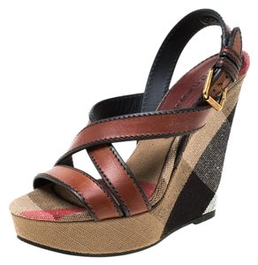 Burberry Canvas Leather Platform Wedge Brown Sandals